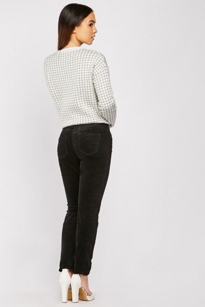 Zipper Front Light Cord Trousers