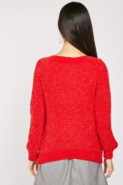 Dark Red Chenille Knit Jumper