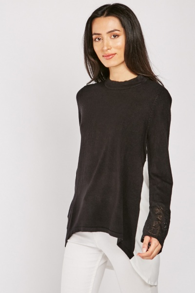 Devore Sleeve Panel Monochrome Top
