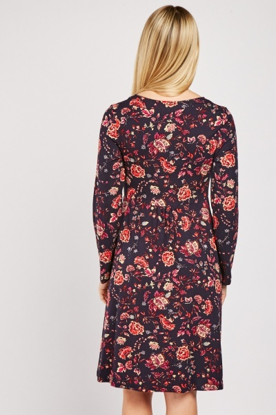 Ruched Floral Midi Dress
