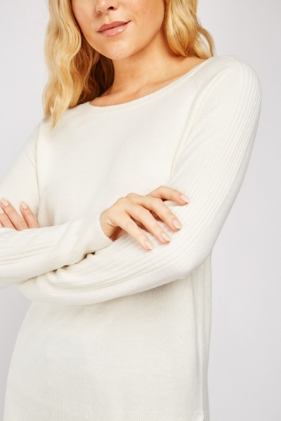 Ribbed Sleeve Panel Knit Sweater