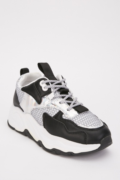 Iridescent Contrast Chunky Trainers