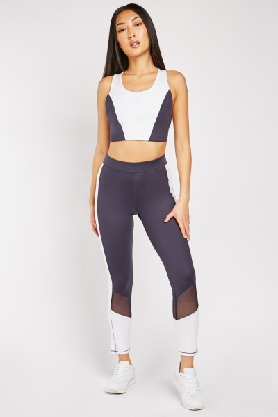Colour Block Mesh Sports Leggings