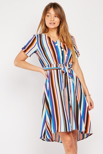 Multi Striped Skater Dress