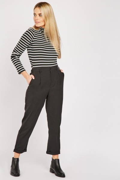 Rolled Hem Tapered Fit Trousers
