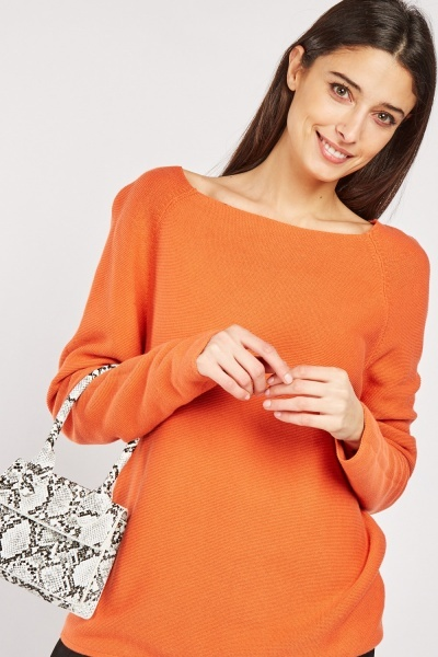 Raglan Sleeve Cotton Knit Jumper