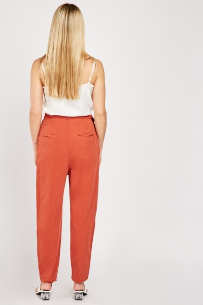 D-Ring Belted Cotton Tapered Trousers