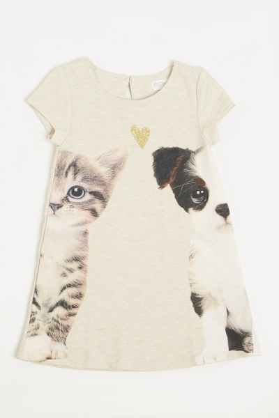 Cats And Dogs Printed Girls T-Shirt