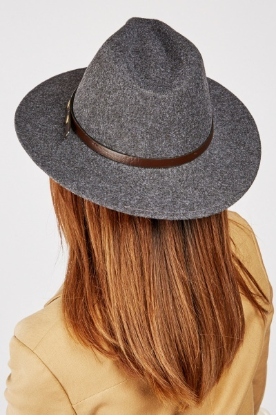 Faux Leather Strap Fedora Hat