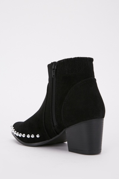 Studded Ankle Heel Boots