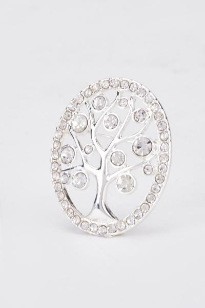 Diamond Encrust Tree Brooch