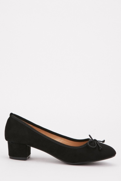Low Heel Suedette Pumps