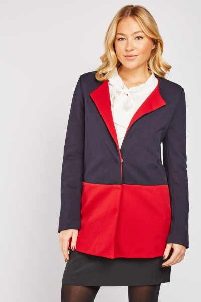 Two Tone Lapel Front Coat