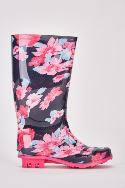 Floral Kids Wellie Boots