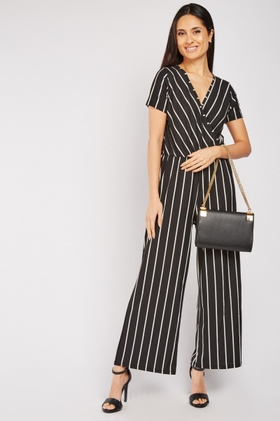 Pinstriped Wrap Jumpsuit