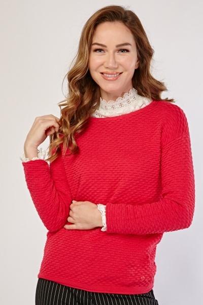 Textured Pattern Knit Cototn Jumper