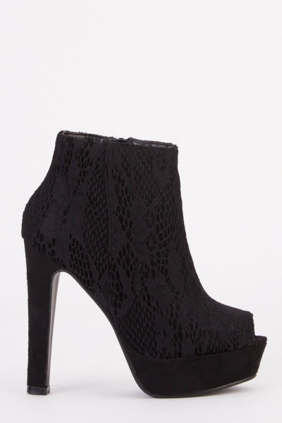 Lace Overlay Peep Toe Ankle Boots