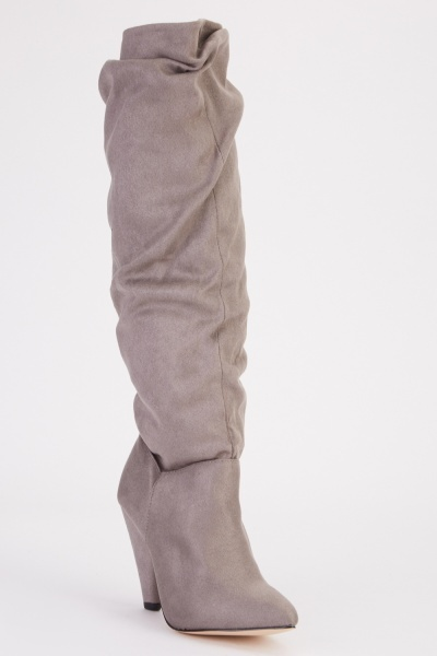 Cone Heel Ruched Knee High Boots