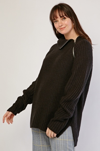 Slanted Zipper Front Chunky Knit Jumper