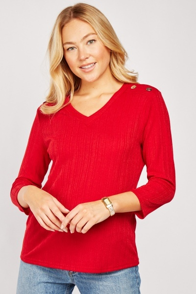 Button Trim Ribbed Top