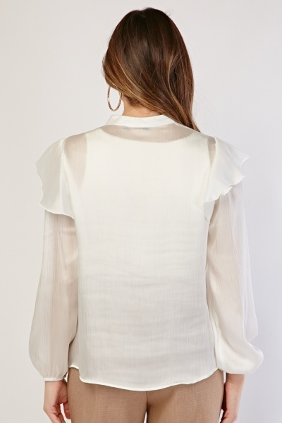 Crinkle Ruffle Trim Sheer Blouse