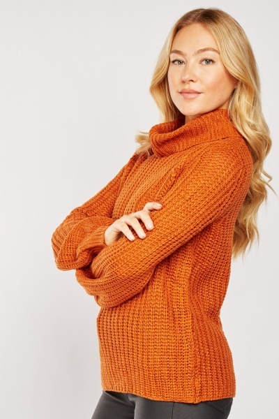 Criss Cross Back Roll Neck Jumper