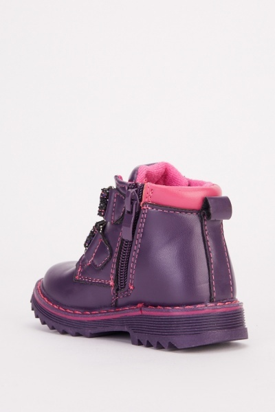 Flower Embroidered Kids Boots