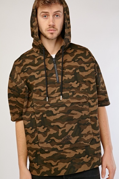 Zip Up Camouflage Print Cotton Hoodie