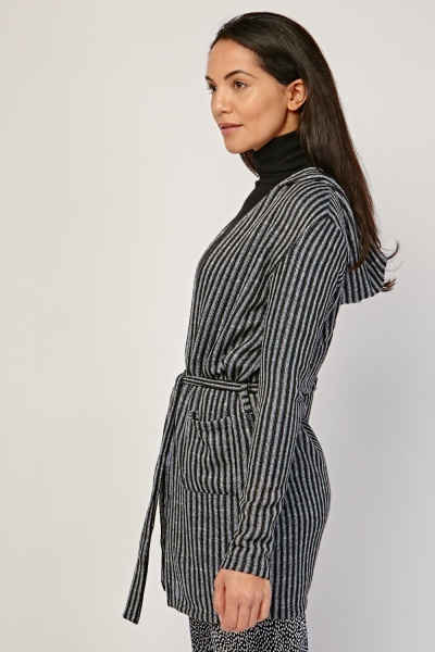 Belted Striped Hooded Cardigan