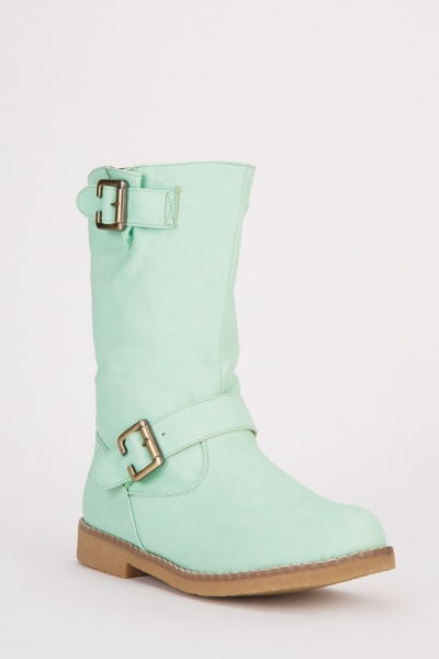 Buckle Trim Mid Calf Length Boots