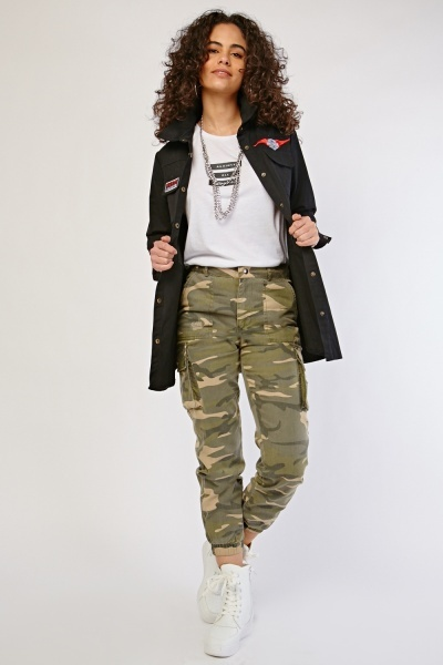 Camo Print Gathered Cuff Trousers