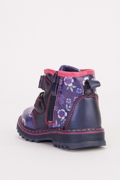 Hook And Loop Strap Floral Kids Boots