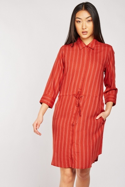 Pinstriped Drawstring Waist Shirt Dress