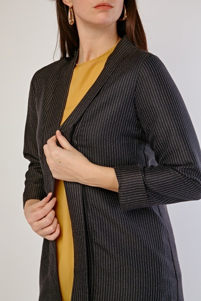 Shawl Collar Pin Striped Blazer
