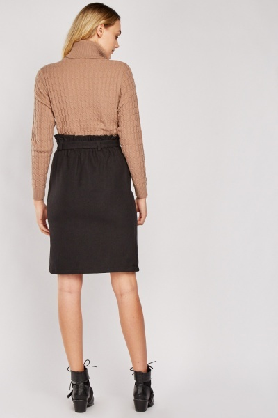 Belted Tie Up Waist Black Skirt