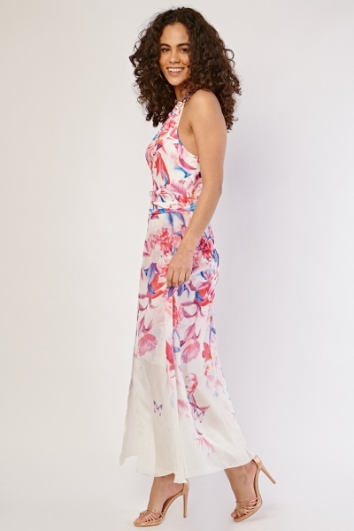 Floral Halter Neck Maxi Dress