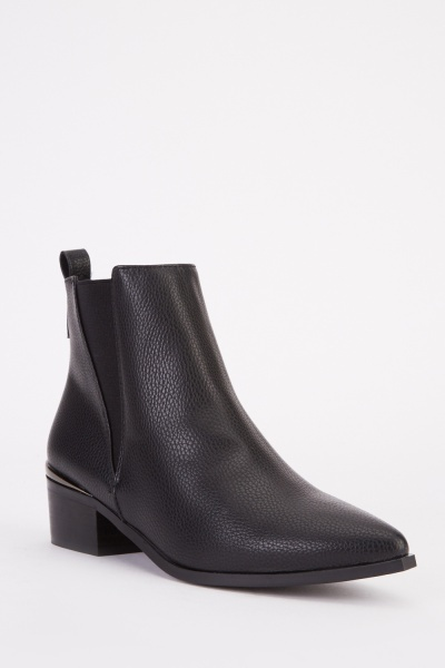 Metallic Trim Pointy Ankle Boots