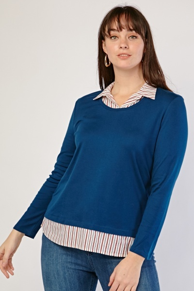 Stripe Shirt Underlay Top
