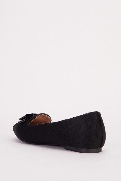 Bow Trim Pointy Loafers