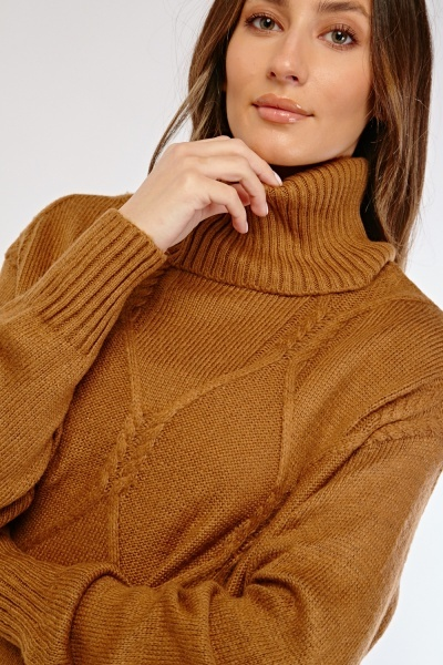Cable Knit Roll Neck Knit Jumper