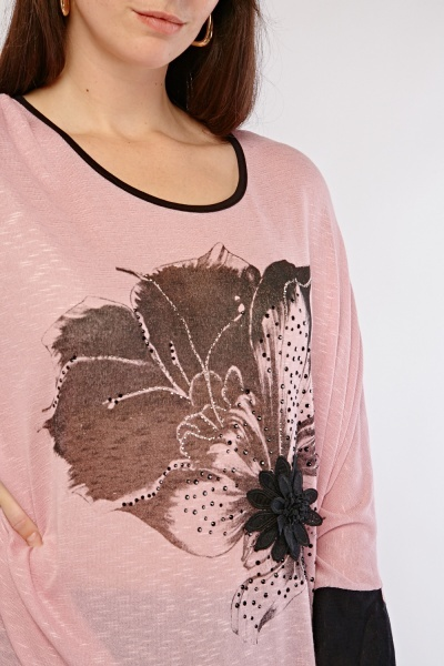 Encrusted Oversized Print Top