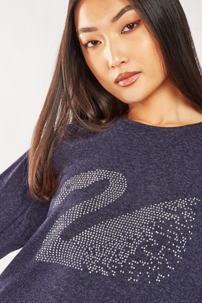 Encrusted Swan Jersey Knit Top