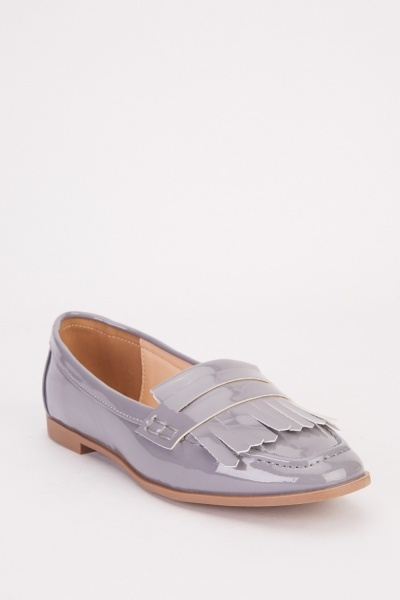Fringe Detail Hi-Shine Loafers