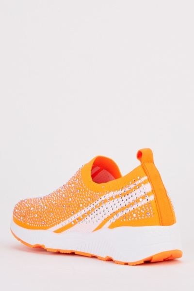 Gem Encrusted Platform Knit Trainers