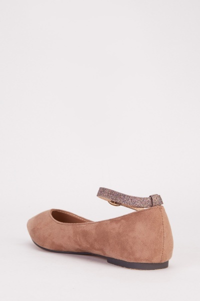Lurex Ankle Strap Flats