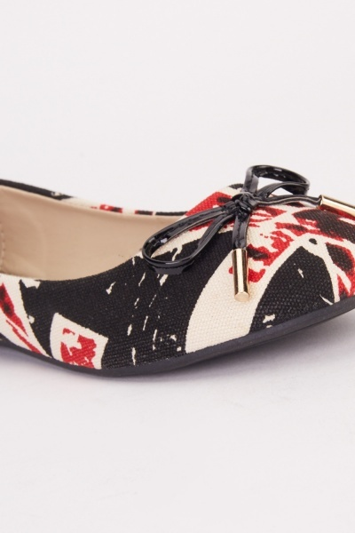 Printed Textured Bow Trim Flats
