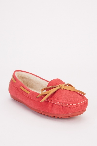 Tie Up Detail Suedette Moccasins