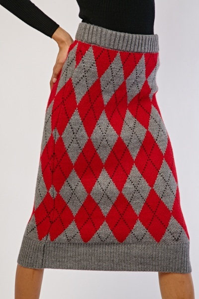 Diamond Pattern Knit Skirt