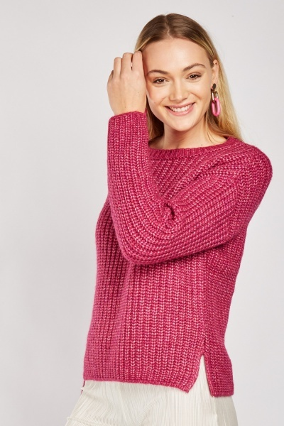 Herringbone Knit Slit Side Jumper