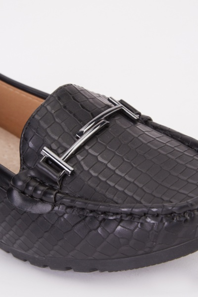 Mock Croc Bar Detail Wedge Loafers